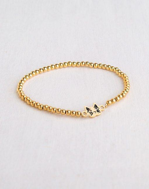 צמיד חתול מקסי לאישה צמידים בציפי זהב 24K או כסף