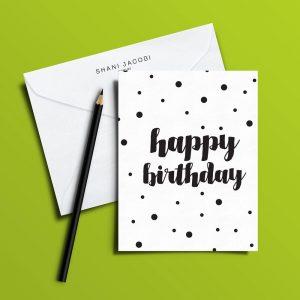 כרטיס ברכה מאויר של שני יעקובי Happy Birthday