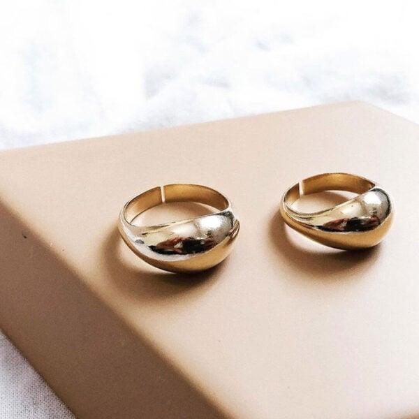 טבעת טיפה בצבע זהב